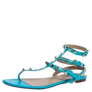 Valentino Blue Patent Leather Rockstud Thong Flat Sandals Size 37