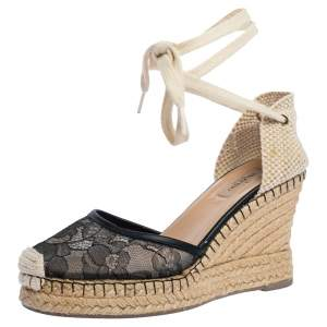 Valentino Black Lace And Beige Canvas Espadrille Wedges Sandals Size 39
