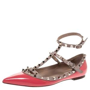 Valentino Pink Patent Leather Rockstud Strappy Ballet Flats Size 39.5