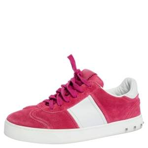 Valentino Pink/White Leather Flycrew Low Top Sneakers Size 37