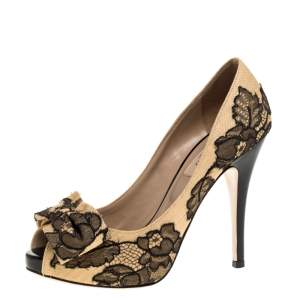 Valentino Beige Canvas and Lace Bow Peep Toe Pumps Size 36.5