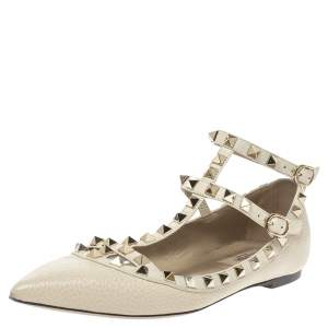 Valentino Off White Leather Rockstud Ankle Strap Ballet Flats Size 37.5
