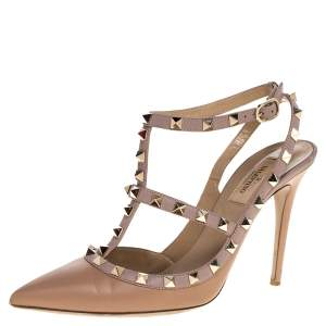 Valentino Beige Leather Rockstud Strappy Pointed Toe Sandals Size 39