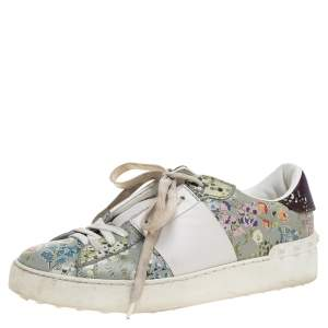 Valentino White Floral Printed Leather Open Sneakers Size 37.5