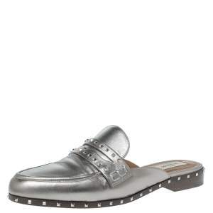 Valentino Metallic Leather Soul Rockstud Loafers Mules Size 41