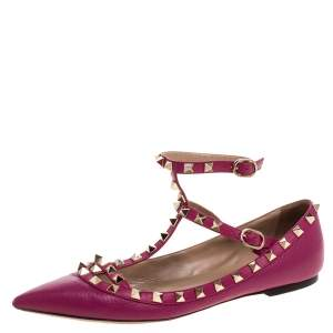 Valentino Pink Leather Rockstud Ankle Cuff Ballet Flats Size 37.5