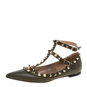 Valentino Green Leather Studded Ankle Strap Pointed Toe Ballet Flats Size 35.5