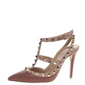 Valentino Pink Leather Studded Strappy Pointed Toe Sandals Size 35