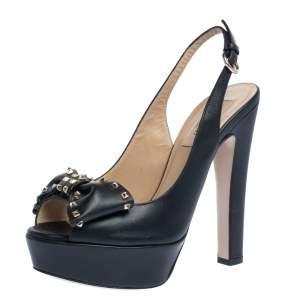 Valentino Black Leather Rockstud Bow Platform Slingback Sandals Size 36.5