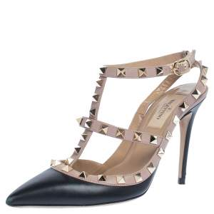 Valentino Black/Beige Leather Rockstud Ankle Strap Sandals Size 36.5