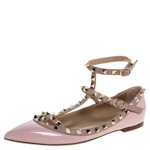 Valentino Pink Patent And Leather Rockstud Ballet Flats Size 39