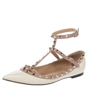 Valentino White Patent Leather Rockstud Strappy Ballet Flats Size 39
