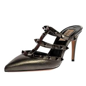 حذاء سلايد فالنتينو طراز سيور مرصع روكستد و مقدمة مدببة جلد رصاصي ميتاليك مقاس 37
