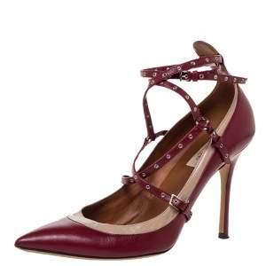 حذاء كعب عالي فالنتينو لوف لاتش جلد ثنائي اللون زخرفة حلقات مزينة مقاس 41