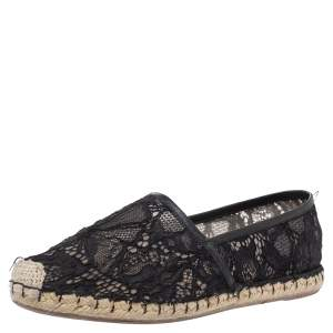 Valentino Black Lace and Leather Espadrilles Size 38
