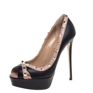 حذاء كعب عالي فالنتينو نعل سميك مقدمة مفتوحة روكستد جلد أسود مقاس 38