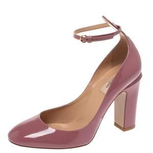 حذاء كعب عالي فالنتينو تانغو سير كاحل كعب عريض جلد لامع بنفسجي مقاس 39.5