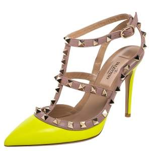 Valentino Neon Yellow and Beige Leather Rockstud Sandals Size 35