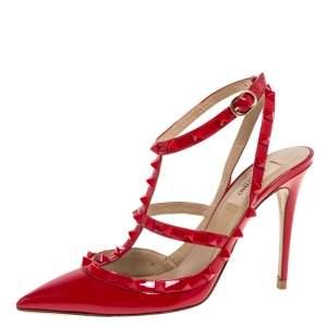 حذاء كعب عالي فالنتينو روكستد جلد لامع أحمر مقاس 39.5
