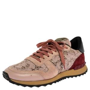 Valentino Slate Pink Lace and Suede Rockrunner Sneakers Size 39