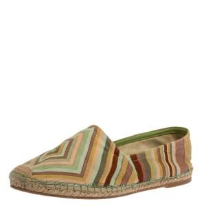 Valentino Multicolor Canvas Slip On Espadrille Flats Size 38