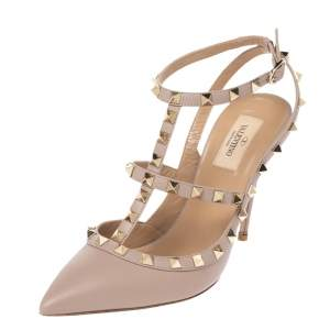 Valentino Beige Leather Rockstud Strappy Sandals Size 40