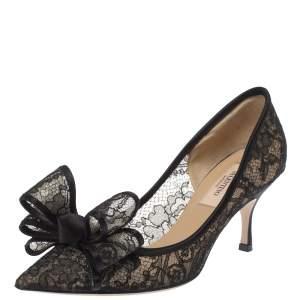 حذاء كعب عالى فالنتينو مقدمة مدببة فيونكة كوتشر دانتيل زهور أسود مقاس 35