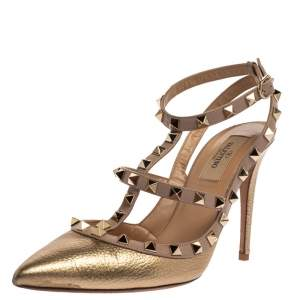 Valentino Gold Leather Rockstud Ankle Strap Sandals Size 38.5