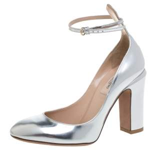 Valentino Silver Foil Leather Tango Ankle Strap Pumps Size 37.5