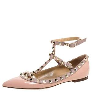 Valentino Pink Patent Leather Rockstud Ankle Strap Ballet Flats Size 36