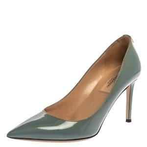 حذاء كعب عالي فالنتينو تيل جلد لامع أزرق بمقدمة مدببة مقاس 37