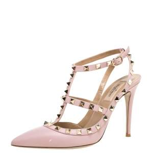 Valentino Pink Leather Rockstud Strappy Sandals Size 38.5