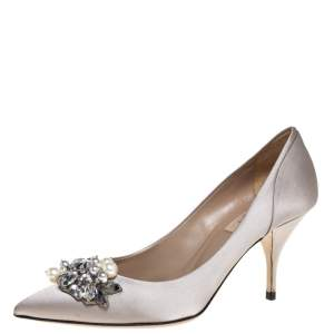 Valentino Grey Satin Crystal and Pearl Embellished Pointed Toe Pumps Size 37.5