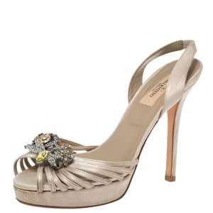 Valentino Beige Satin Crystal Embellished Peep Toe Slingback Sandals Size 37