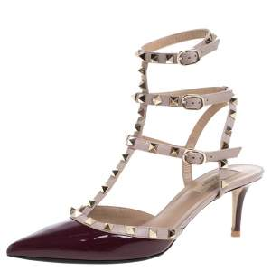 Valentino Burgundy Patent Leather Rockstud Strappy Sandals Size 40