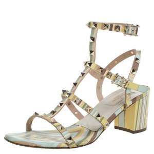 Valentino Multicolor Leather Rockstud Ankle Strap Sandals Size 40