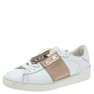 Valentino White and Metallic Gold Band Leather Open Low Top Sneakers Size 37