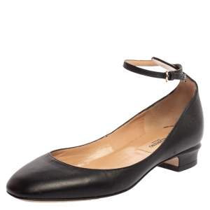 Valentino Black Leather Ankle Cuff Ballet Flats Size 35.5