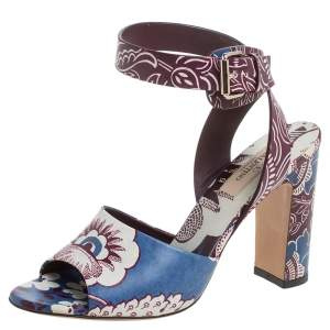 Valentino Blue Leather Printed Leather Ankle Strap Sandals Size 37