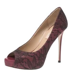 Valentino Black Floral Lace Peep Toe Platform Pumps Size 36
