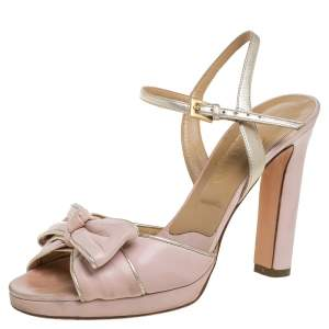 Valentino Blush Pink Leather Bow Slingback Ankle Strap Sandals Size 37