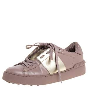 Valentino Pale Pink Leather Rockstud Sneakers Size 35