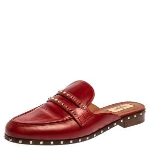 Valentino Red Leather Rockstud Soul Loafer Mule Slides Size 40