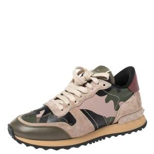 Valentino Multicolor Suede And Leather Camouflage Rockrunner Low Top Sneakers Size 37.5