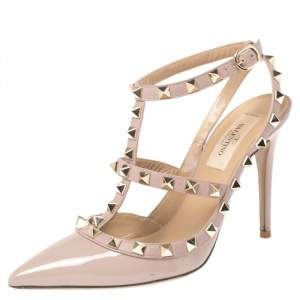 Valentino Beige Leather Rockstud Embellished Pointed Toe Ankle Strap Sandals Size 36.5