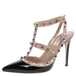 Valentino Black/Beige Leather Rockstud Ankle Strap Pointed Toe Sandals Size 39