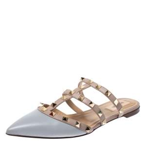 Valentino Grey Leather Rockstud Pointed Toe Flat Sandals Size 37