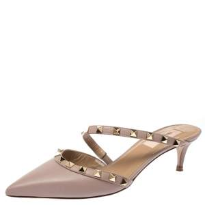 Valentino Beige Leather Rockstud Pointed Toe Mules Size 37
