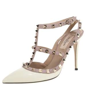 Valentino White Patent Leather Accents Rockstud Sandals 37.5