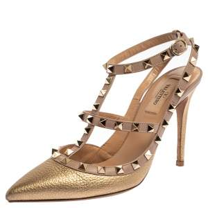 Valentino Gold Leather Rockstud Pointed Toe Ankle Strap Sandals Size 39